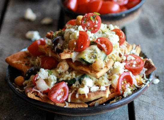 Greek Goddess Nachos with Pita Chips