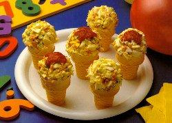 Egg Salad Pizza Cones