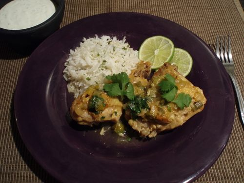 Braised Chicklen with Tomatillos and Jalapenos