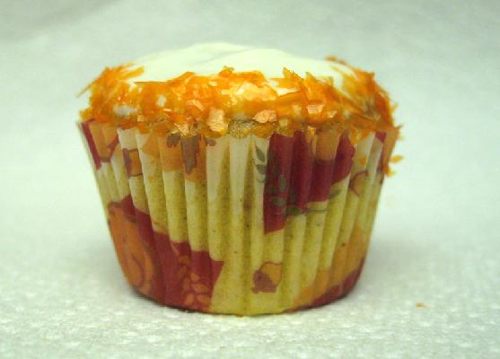 Pumpkin Spice Mini Cupcake with Cream Cheese Frosting and Orange glitter rim