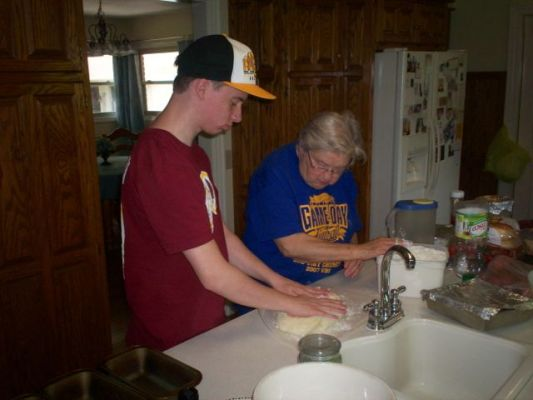 Learning how to make sourdough bread with my Grandma Elledge