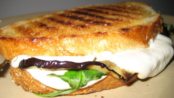 Grilled Eggplant, Arugula and Mozzarella Panini