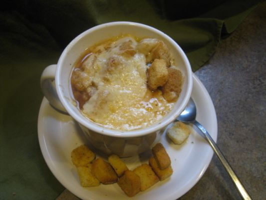 Vegetarian French Onion Soup with Rosemary and Parmesan Cheese