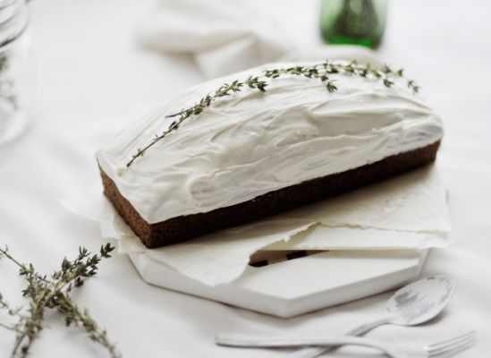 Pecan & rum loaf cake with goat cheese frosting