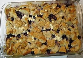 Blueberry and White Chocolate Bread Pudding