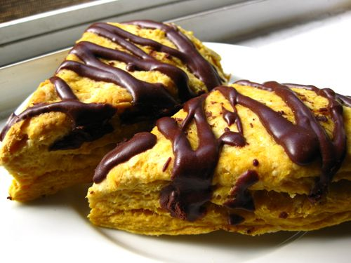 Pumpkin Cream Cheese Scone with Chocolate Drizzle