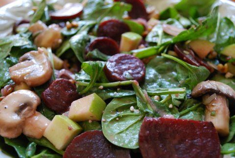 Warm Spinach Salad with Roasted Beets, Goat Cheese & Apples Tossed with Raspberry Vinaigrette