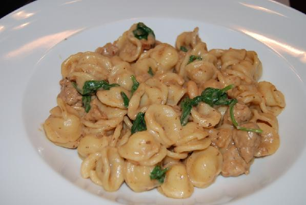 Orechiette with Sausage, Beans, and Mascarpone
