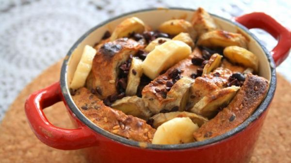 Baked PB and Banana Stuffed French Toast