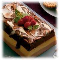 YULETIDE LAYERED MOUSSE WITH EGGNOG SAUCE