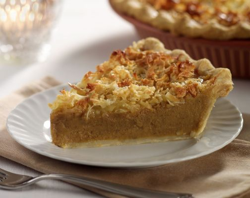 PUMPKIN SWEET POTATO AND COCONUT PIE