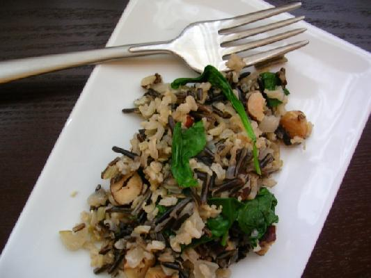 Wild Rice with Spinach and Hazelnuts