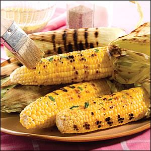 Grilled Corn with Mint Butter