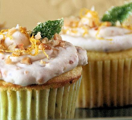 Iron Cupcake Earth: Basil Challenge - Lemon Basil Cupcake with Toasted Pinenut Buttercream & Candied Basil Leaf