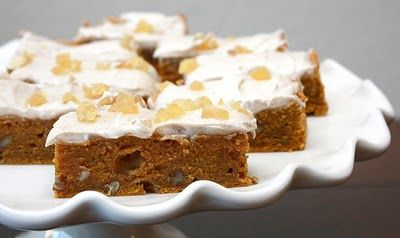 Pumpkin Chai Blondies with Spiced Cream Cheese Frosting