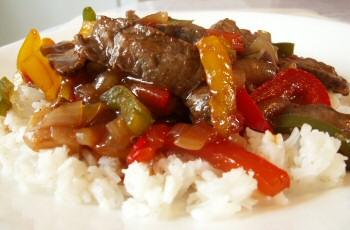 Beef Pepper Steak with Rice