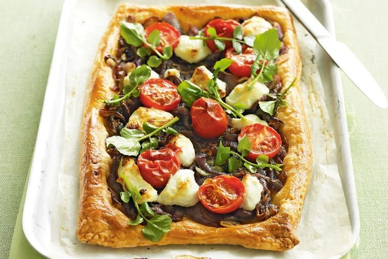 Goat cheese onion and cherry tomato tart