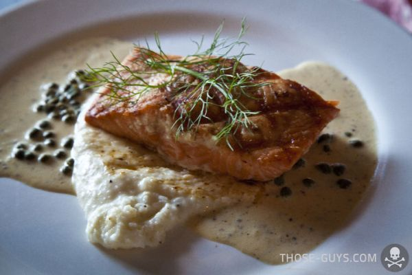 Salmon with Grits and Caper-Cream Sauce