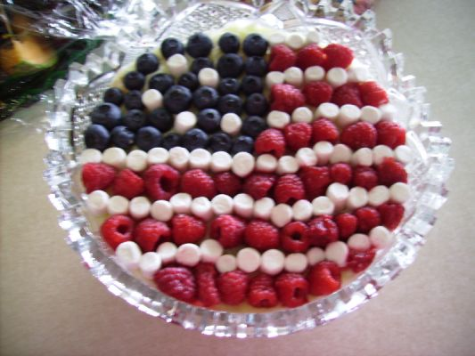 Aunt Louise's 4th of July Tapioca Fruit Salad (decoration by me)