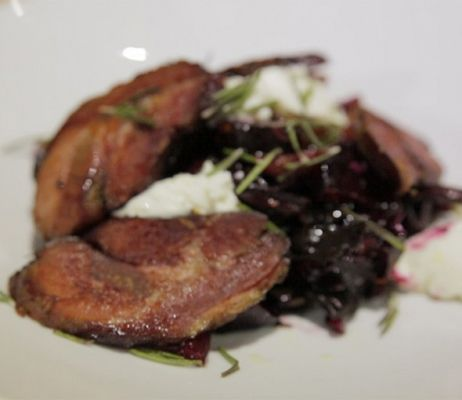 Batzaria with siglino pancetta with roasted beets and goat cheese