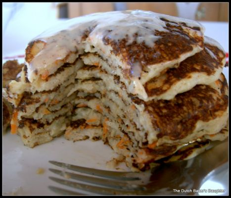 Carrot Cake Pancakes with Ginger-Maple Cream