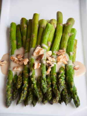 Roasted Asparagus with Honey Maple Tahini Sauce