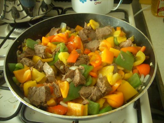 Beef Tongue with Rainbow Peppers