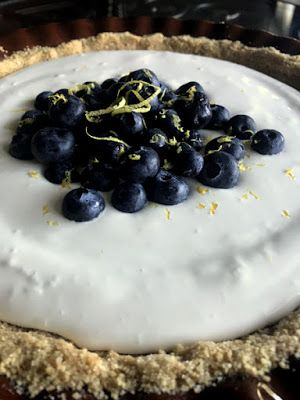 Lemon Ice Box Pie with Blueberries