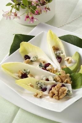 Belgian Endive with Roquefort, Walnuts and Cranberries