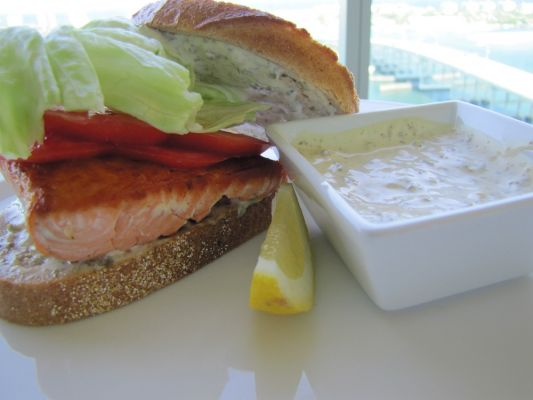salmon on rye with lemon~caper mayonnaise