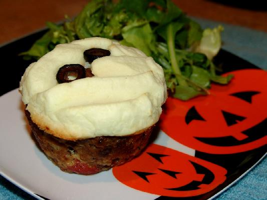 Individual Mummy Meatloaf with Mashed Potato Bandages