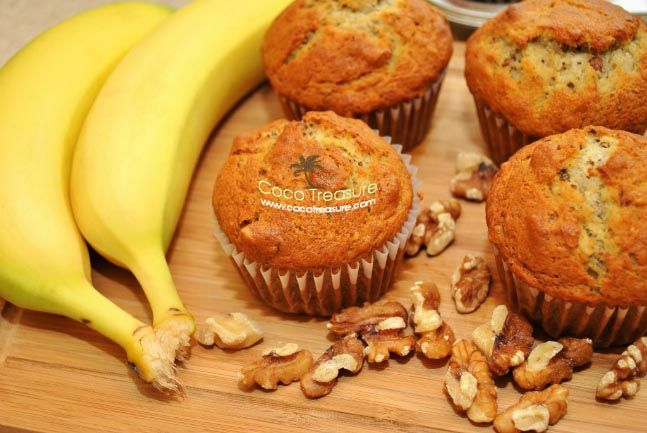 Hearty Banana Nut Muffins with Coconut Oil