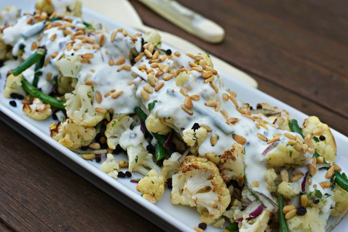 CAULIFLOWER SALAD WITH PINE NUTS,YOGHURT DRESSING