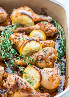 Lemon Garlic Roasted Chicken Legs