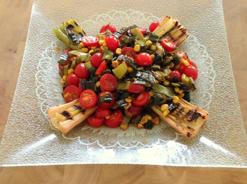 Grilled Leeks with Leek-Tomato Salad & Citrus Dressing