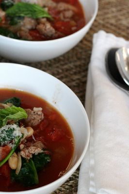 Sausage, White Bean & Spinach Soup