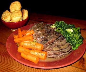 Crockpot Roast w/ Broccoli Rabe and Biscuits