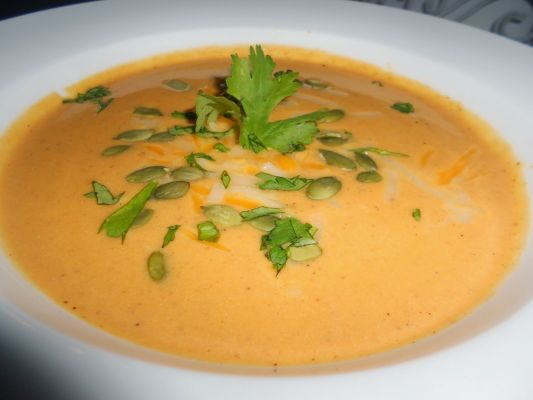 Southwestern Pumpkin Soup with Toasted Cumin Creme