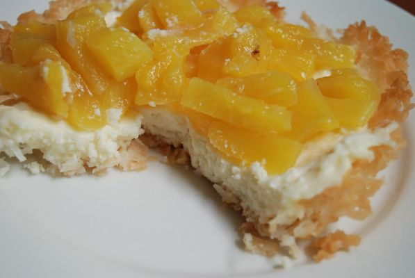 Coconut Tartlets with Poached Pineapple and Mascarpone Cheese
