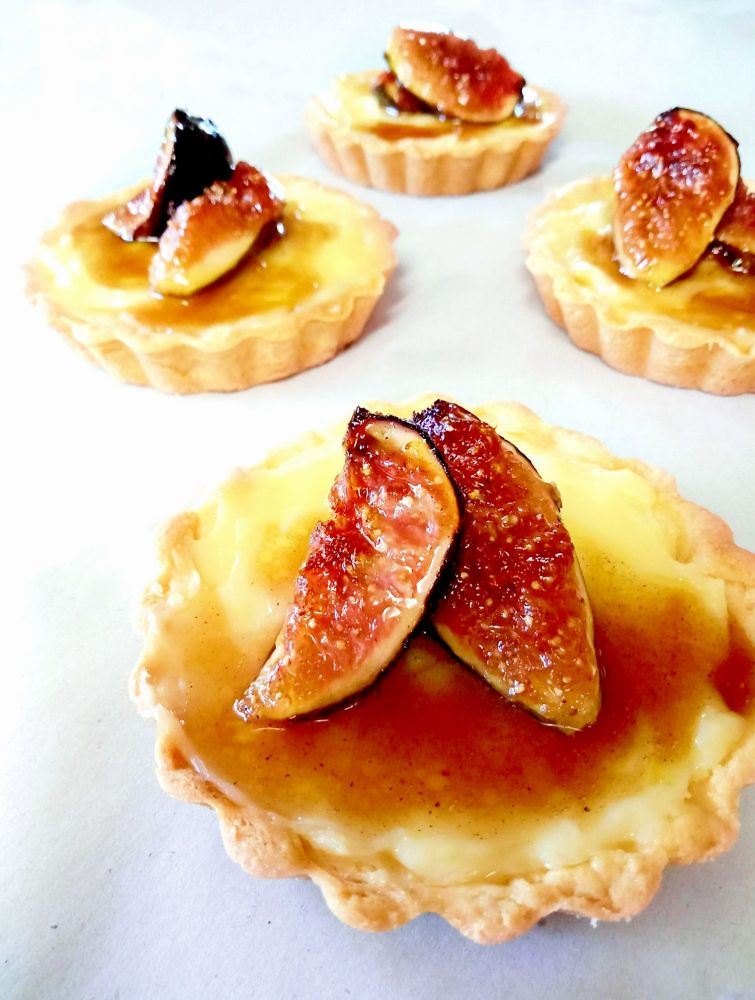 Honey Fried Fig Custard and Almond Tart