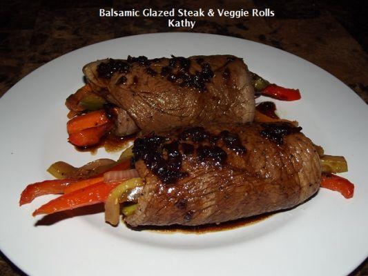 Balsamic Glazed Steak & Veggie Rolls