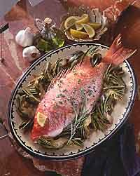 Baked Snapper with Artichokes