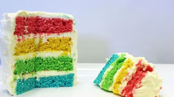 Amazing Rainbow Layered Cupcake with Frosting