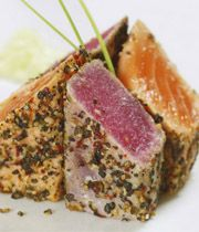 Pepper Seared Tuna and Salmon with Wasabi Mayo Dip