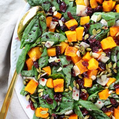 Roasted Butternut Squash, Cranberry and Spinach Salad with a Cran-Cabernet Dressing