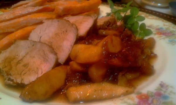"""Love Me Tender'loin'  Pork Tenderloin with carmelized onions and apples and oven baked Sweet Potato fries"
