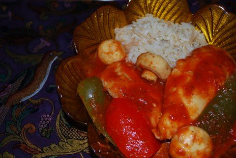 Easy Crock Pot Chicken with side of Rice Pilav