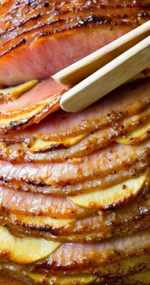 Baked Ham with Honey Mustard & Apples