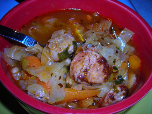 Cabbage and White Bean Soup with Sausage