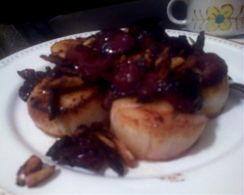Scallops with Almonds & Cherries